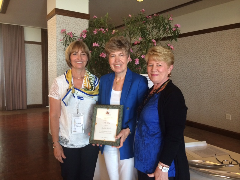 President Anne Carter, 2015 Kimball Award winner Cindy Bay, Awards Chairman Babs Weinberg